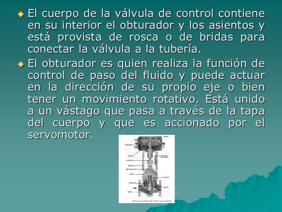 El cuerpo de la válvula de control contiene en su interior el obturador y los asientos y está provista de rosca o de bridas para conectar la válvula a la tubería.