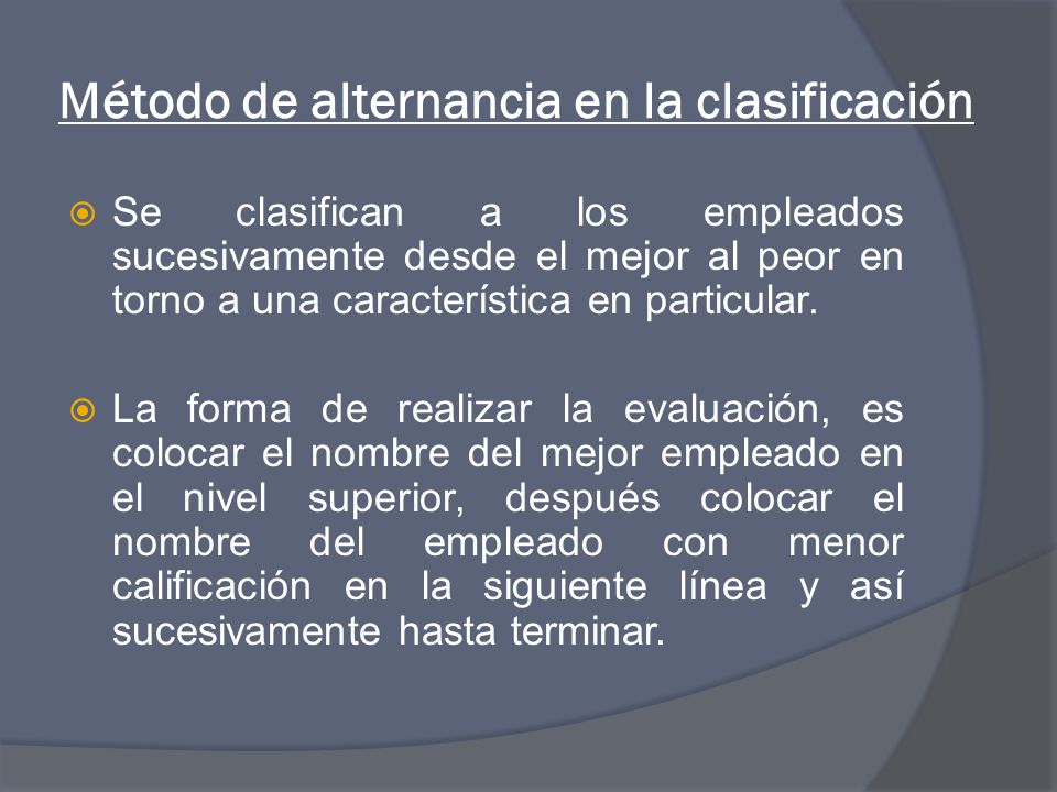 Método de alternancia en la clasificación