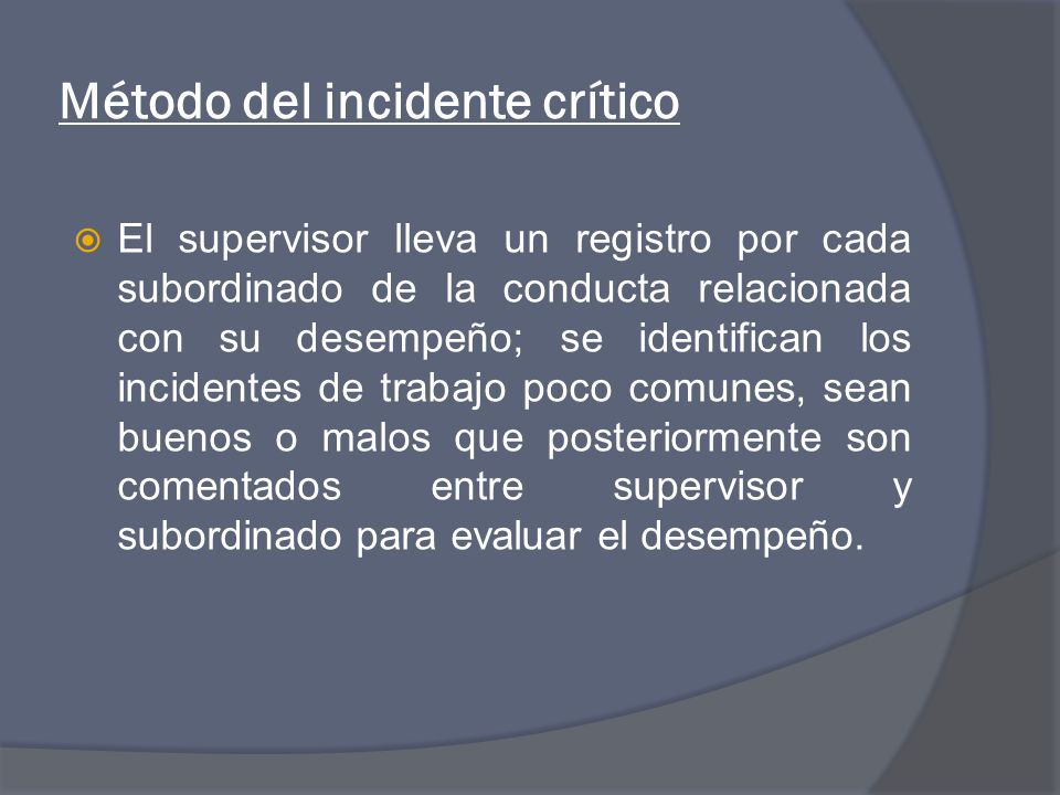 Método del incidente crítico