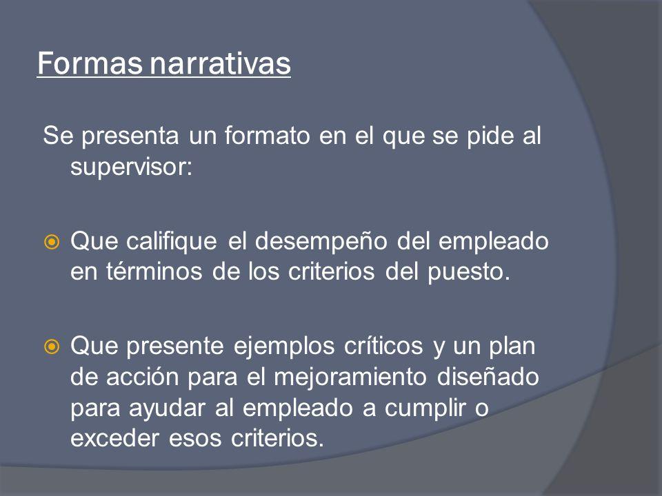 Formas narrativas Se presenta un formato en el que se pide al supervisor: