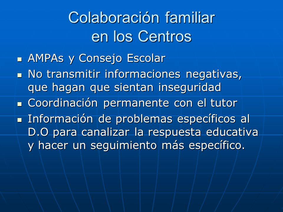 Colaboración familiar en los Centros