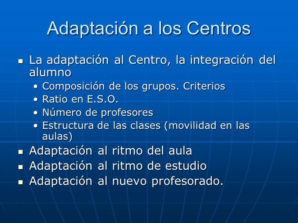 Adaptación a los Centros
