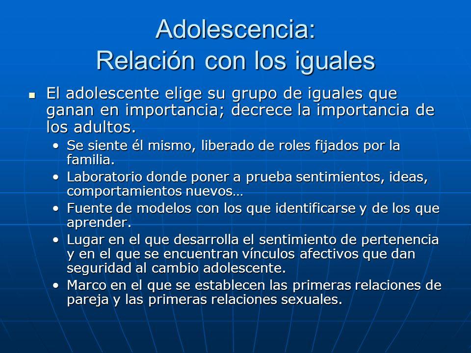 Adolescencia: Relación con los iguales