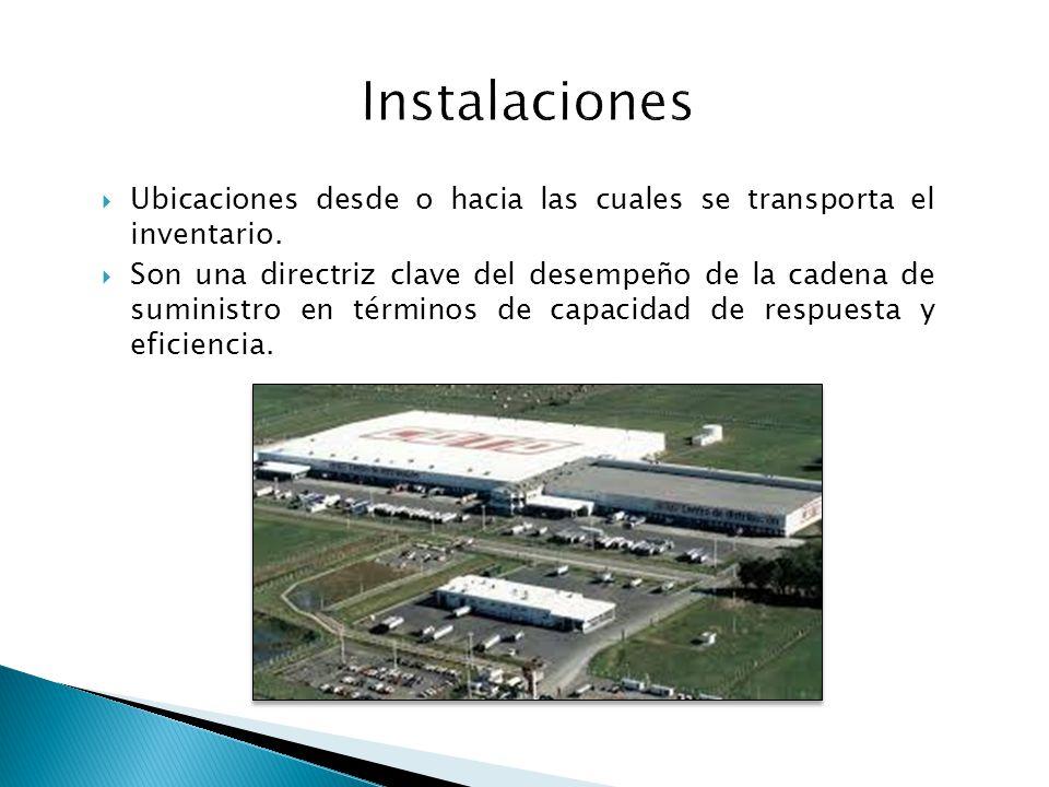 Instalaciones Ubicaciones desde o hacia las cuales se transporta el inventario.