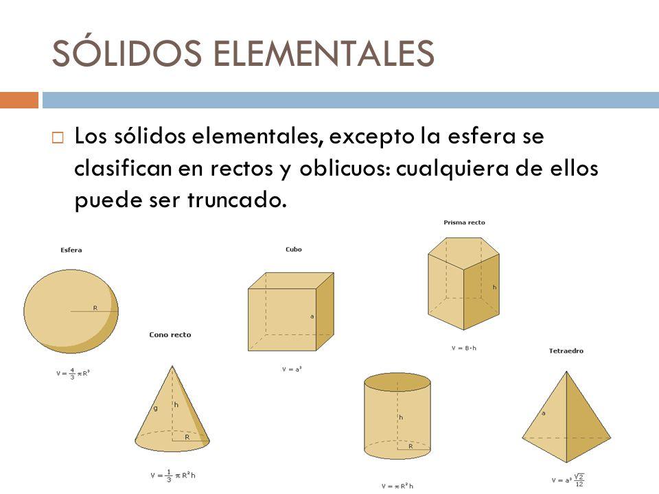 SÓLIDOS ELEMENTALES Los sólidos elementales, excepto la esfera se clasifican en rectos y oblicuos: cualquiera de ellos puede ser truncado.