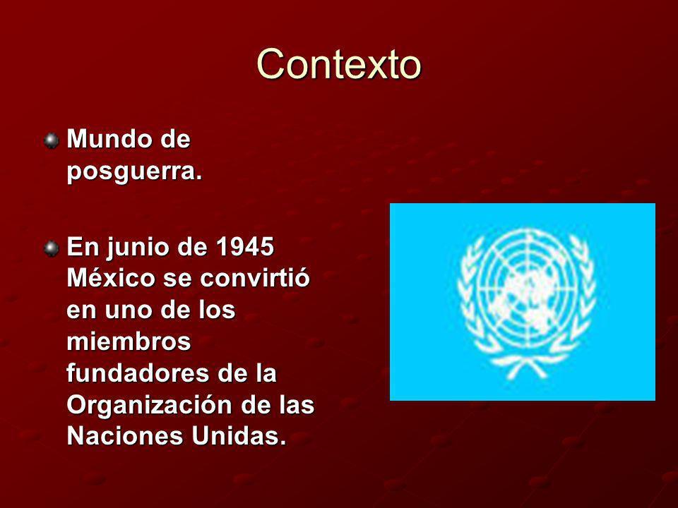 Contexto Mundo de posguerra.