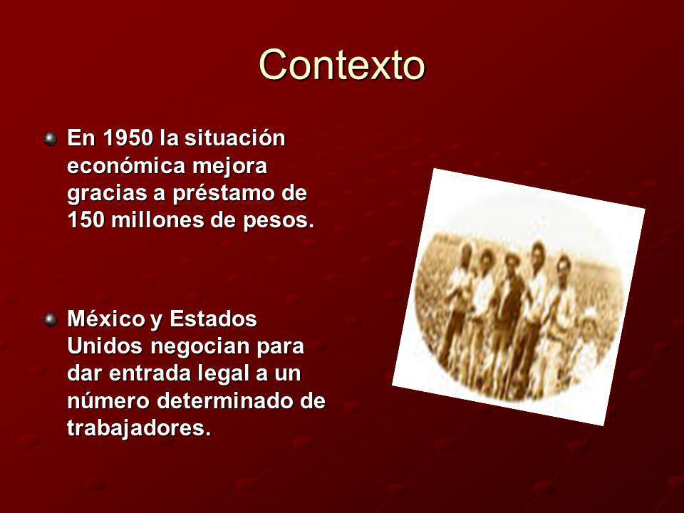 ContextoEn 1950 la situación económica mejora gracias a préstamo de 150 millones de pesos.