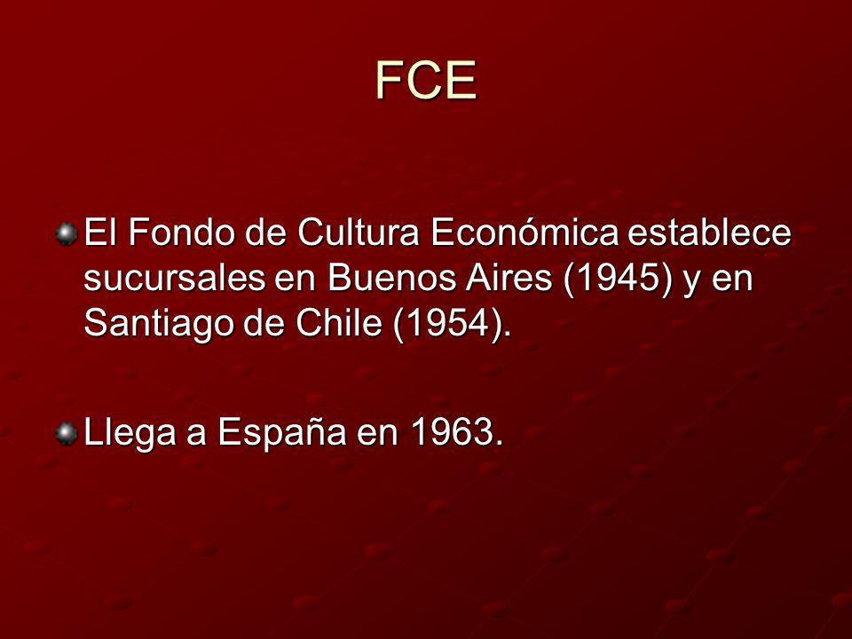 FCE El Fondo de Cultura Económica establece sucursales en Buenos Aires (1945) y en Santiago de Chile (1954).