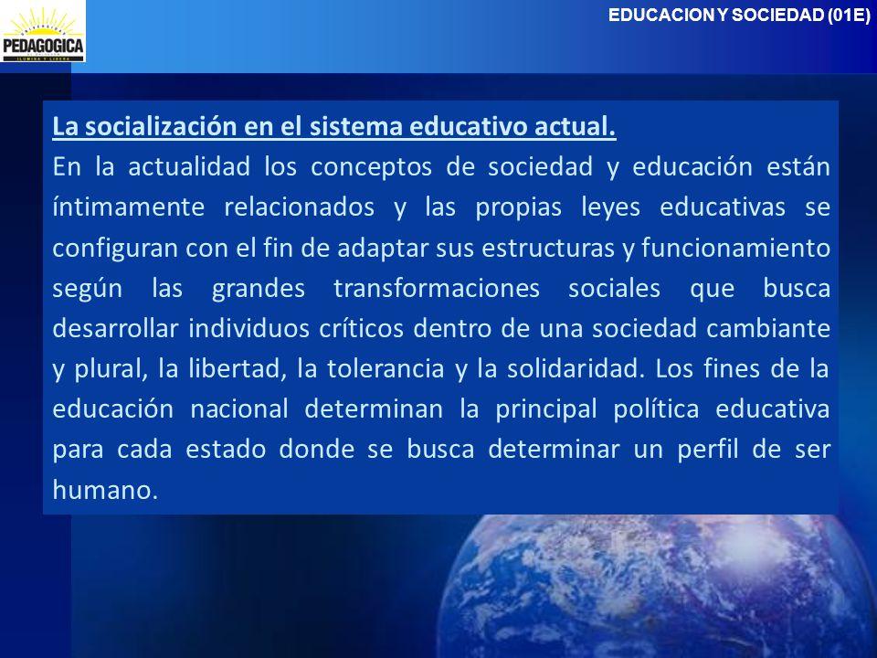 La socialización en el sistema educativo actual.