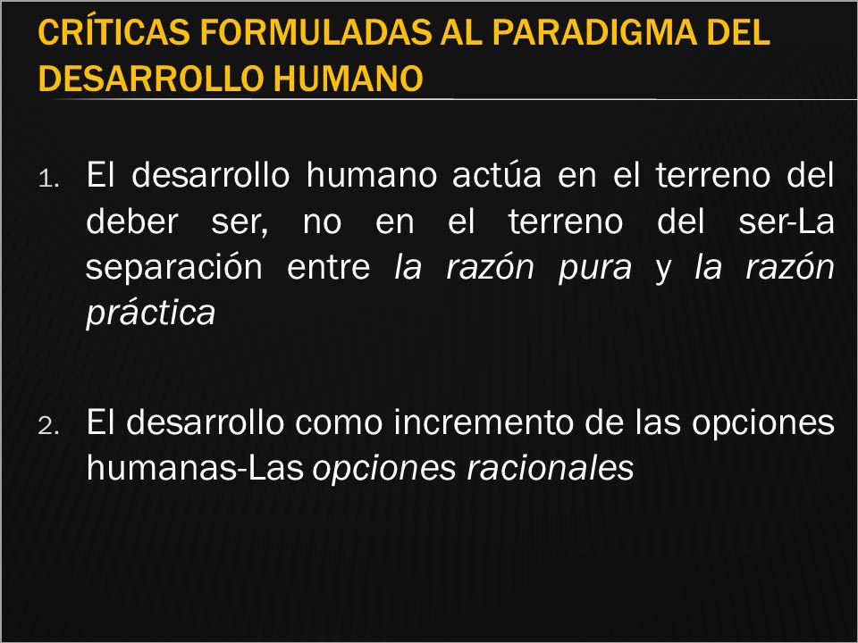 Críticas formuladas al paradigma del Desarrollo Humano