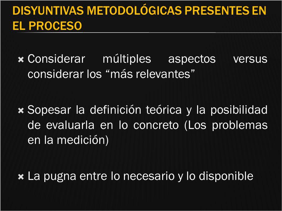 Disyuntivas metodológicas presentes en el proceso