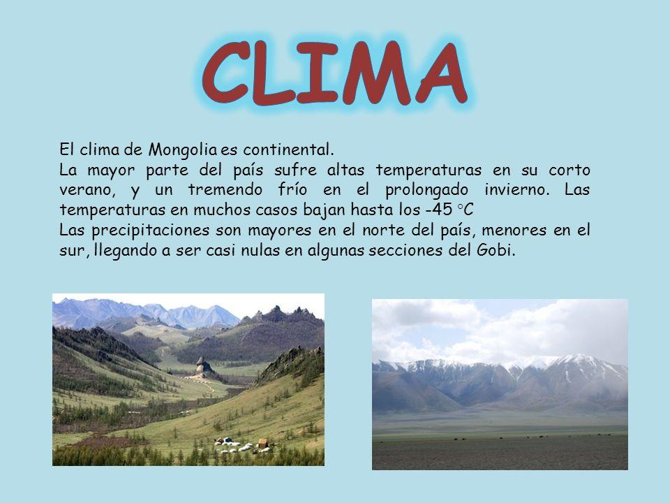 CLIMA El clima de Mongolia es continental.