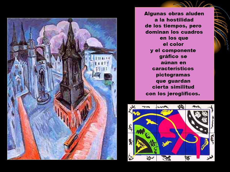 Algunas obras aluden a la hostilidad. de los tiempos, pero. dominan los cuadros. en los que. el color.