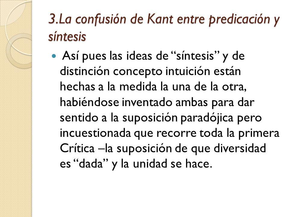 3.La confusión de Kant entre predicación y síntesis