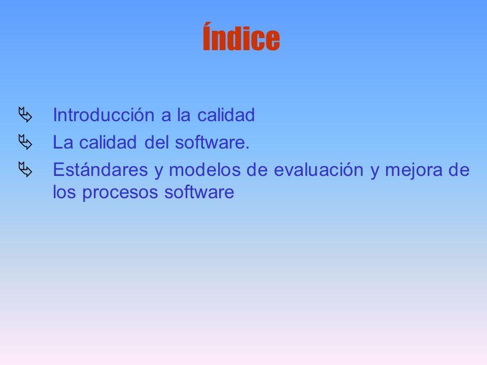 Índice Introducción a la calidad La calidad del software.