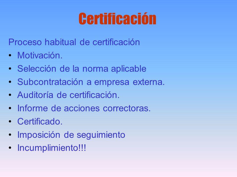 Certificación Proceso habitual de certificación Motivación.