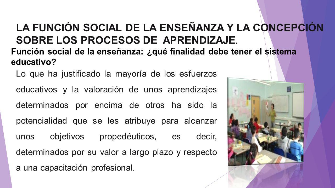 LA FUNCIÓN SOCIAL DE LA ENSEÑANZA Y LA CONCEPCIÓN SOBRE LOS PROCESOS DE APRENDIZAJE.