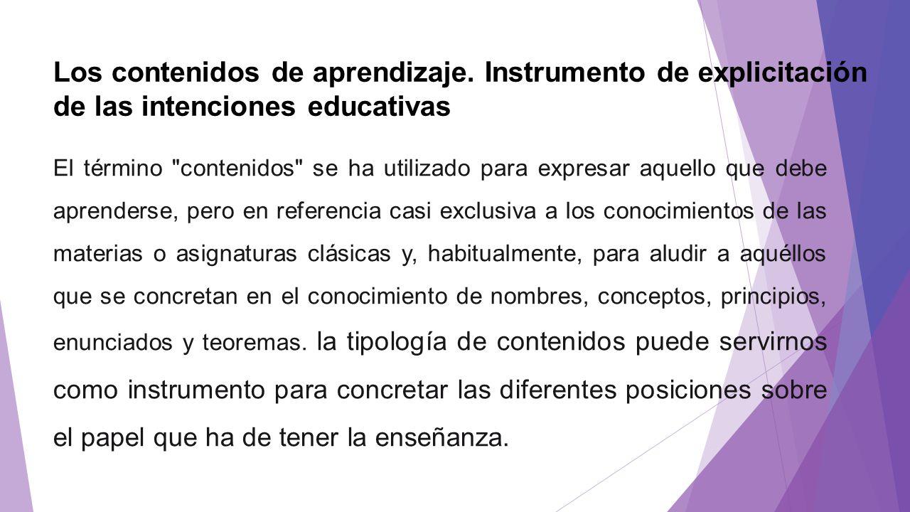 Los contenidos de aprendizaje