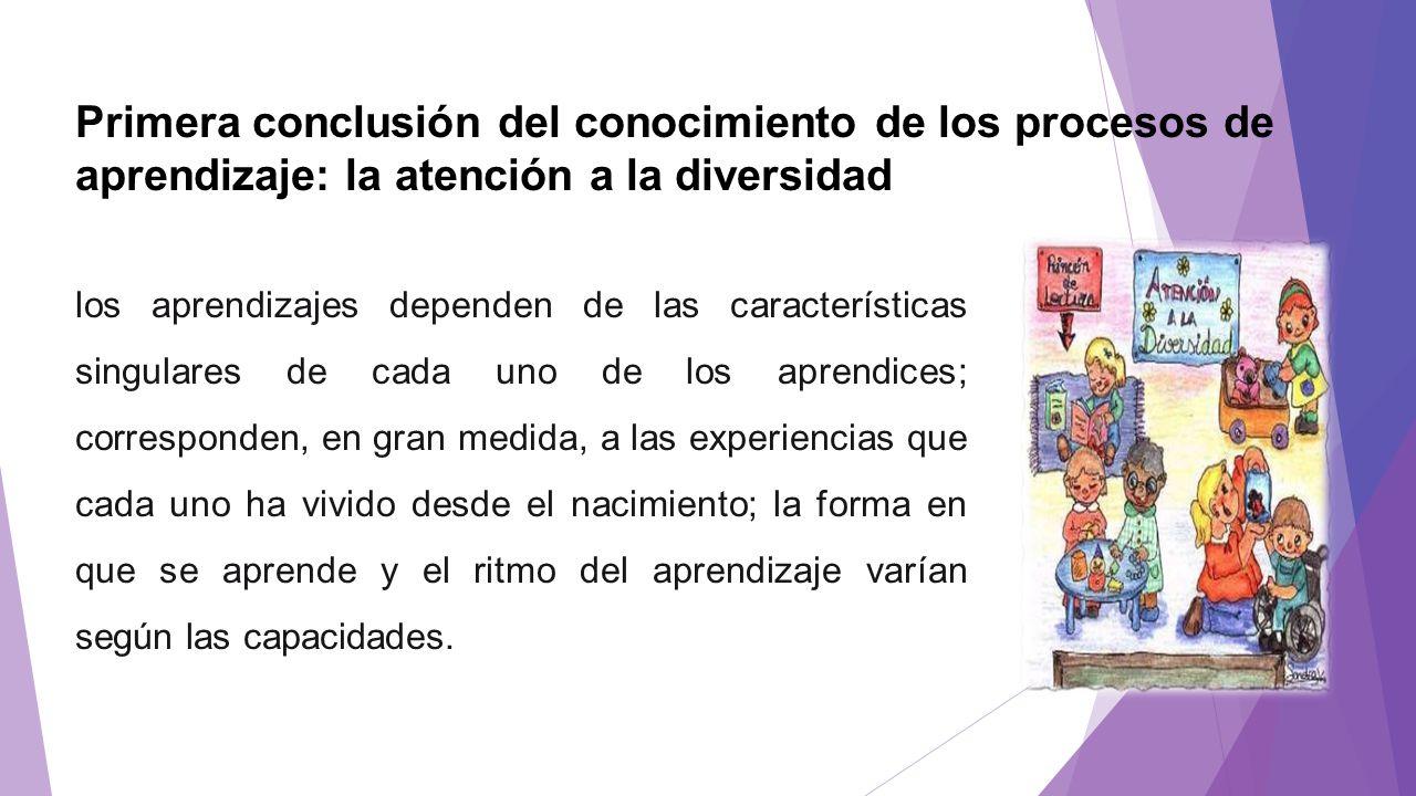 Primera conclusión del conocimiento de los procesos de aprendizaje: la atención a la diversidad