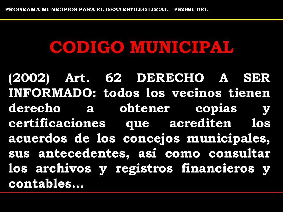 PROGRAMA MUNICIPIOS PARA EL DESARROLLO LOCAL – PROMUDEL -