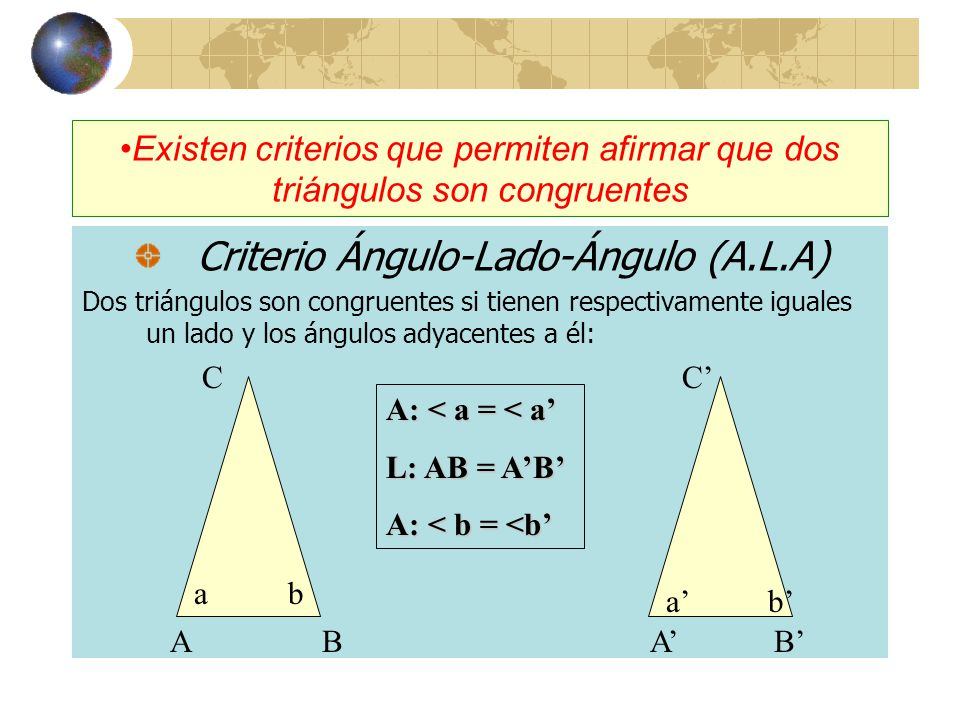Criterio Ángulo-Lado-Ángulo (A.L.A)