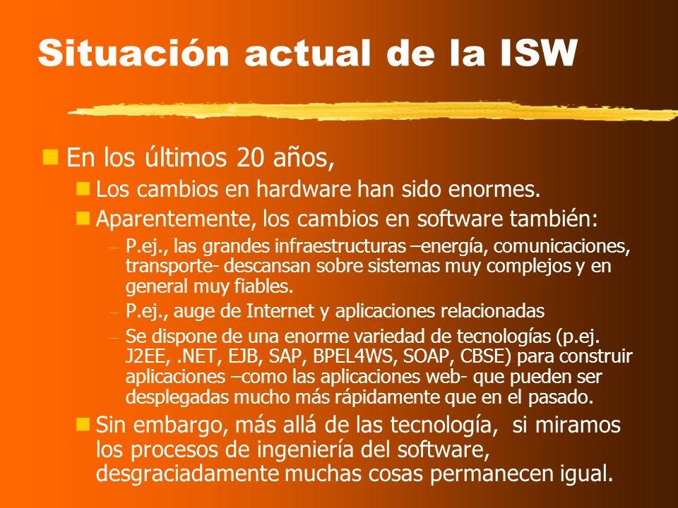 Situación actual de la ISW