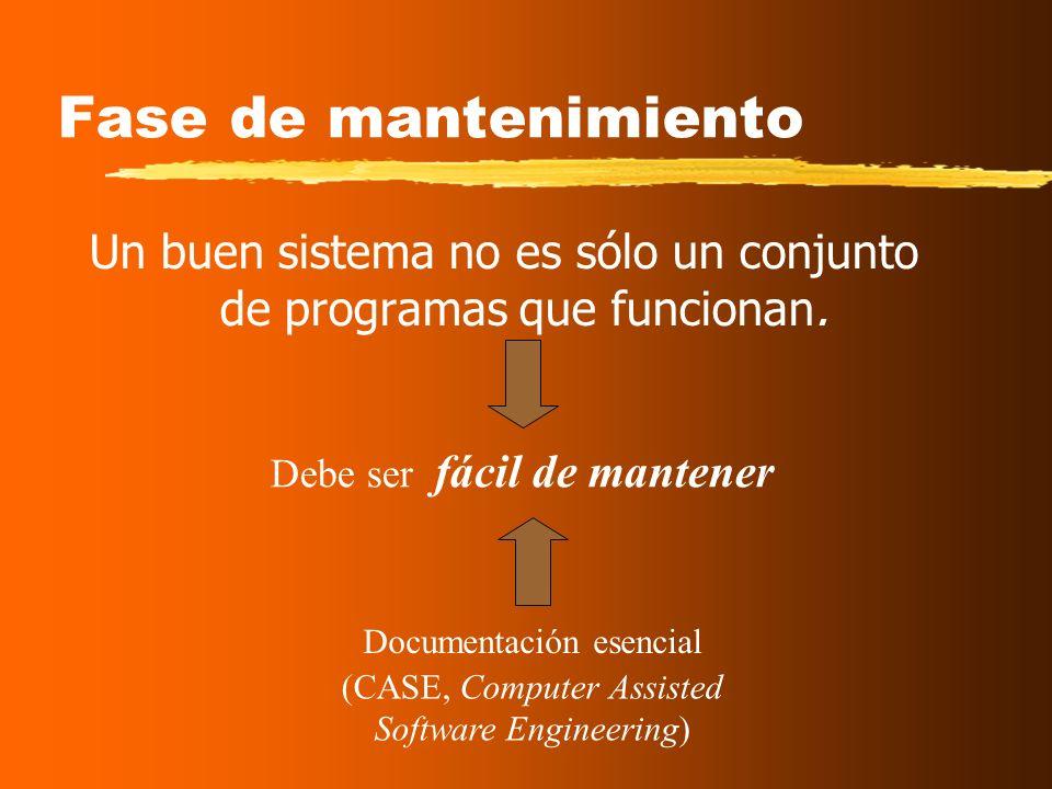 Fase de mantenimiento Un buen sistema no es sólo un conjunto de programas que funcionan.