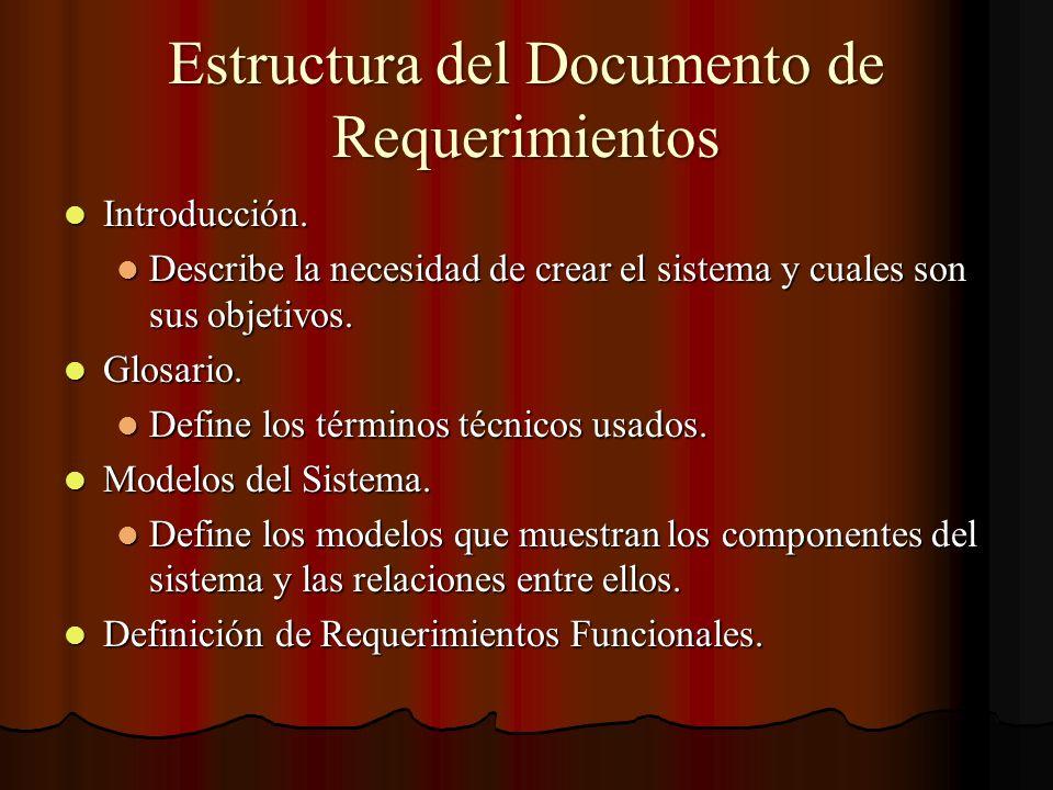 Estructura del Documento de Requerimientos