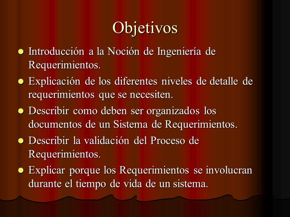 Objetivos Introducción a la Noción de Ingeniería de Requerimientos.