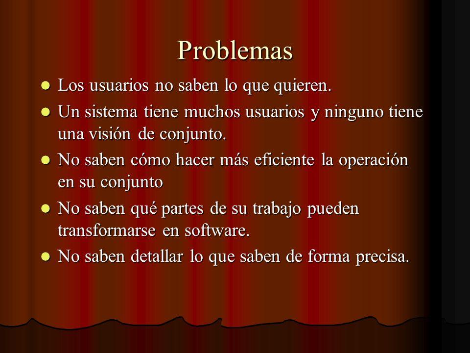 Problemas Los usuarios no saben lo que quieren.