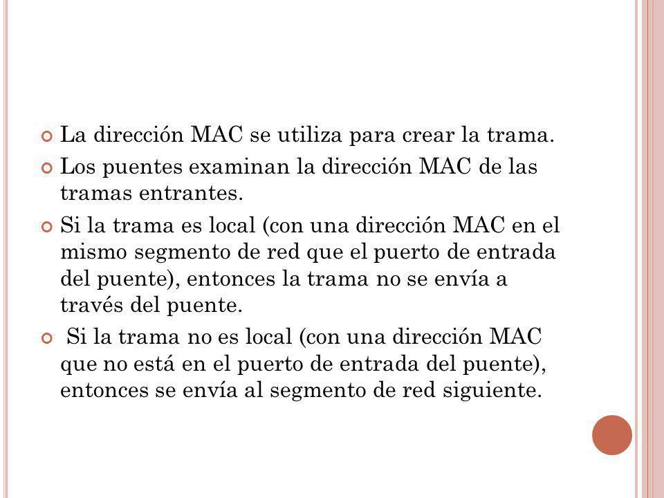 La dirección MAC se utiliza para crear la trama.