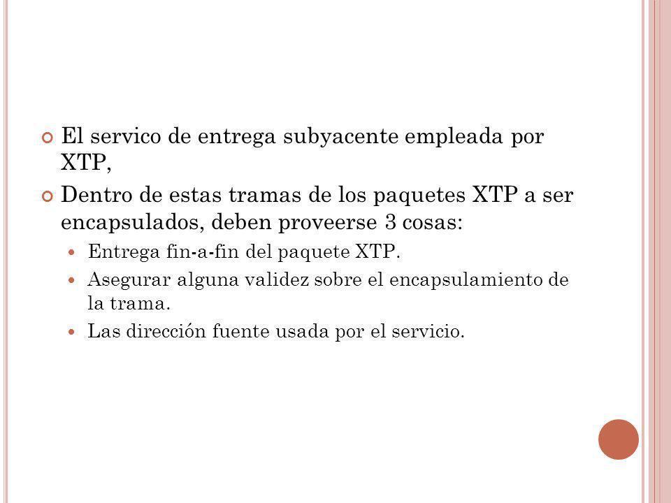 El servico de entrega subyacente empleada por XTP,