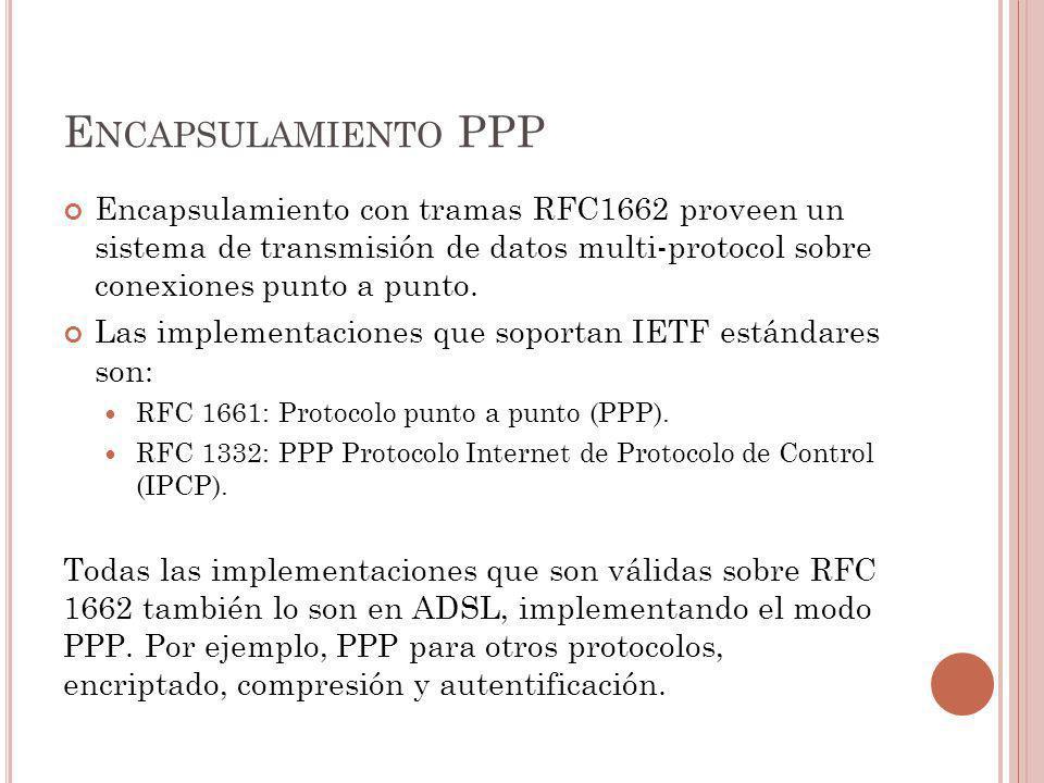 Encapsulamiento PPP Encapsulamiento con tramas RFC1662 proveen un sistema de transmisión de datos multi-protocol sobre conexiones punto a punto.