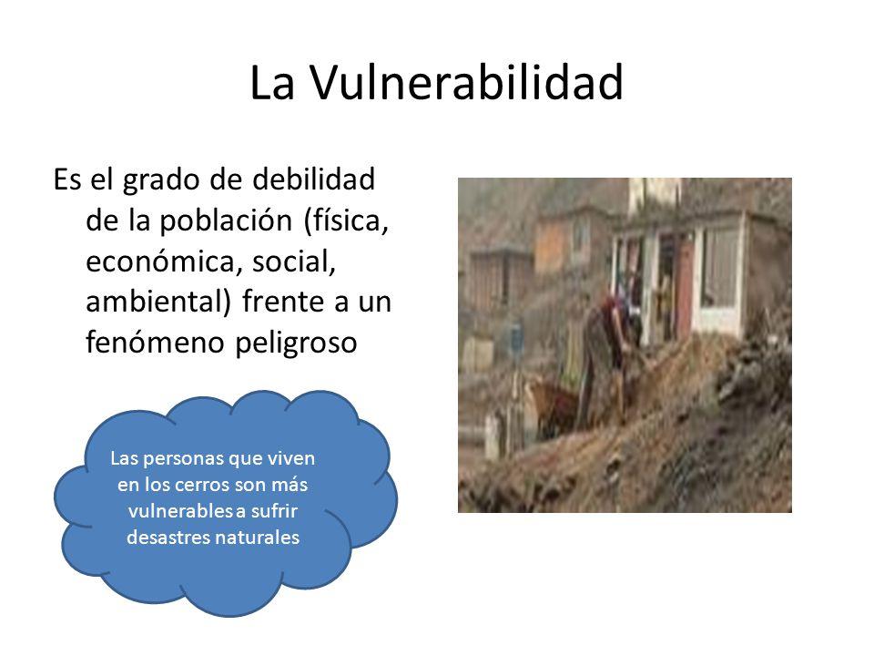 La Vulnerabilidad Es el grado de debilidad de la población (física, económica, social, ambiental) frente a un fenómeno peligroso.