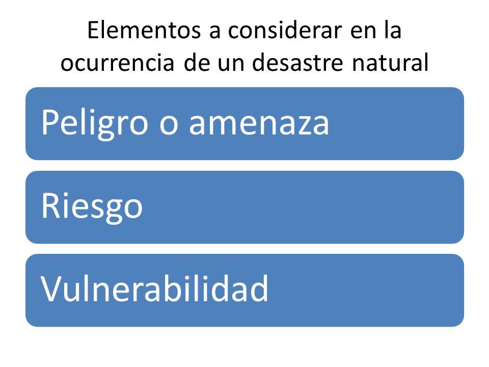 Elementos a considerar en la ocurrencia de un desastre natural