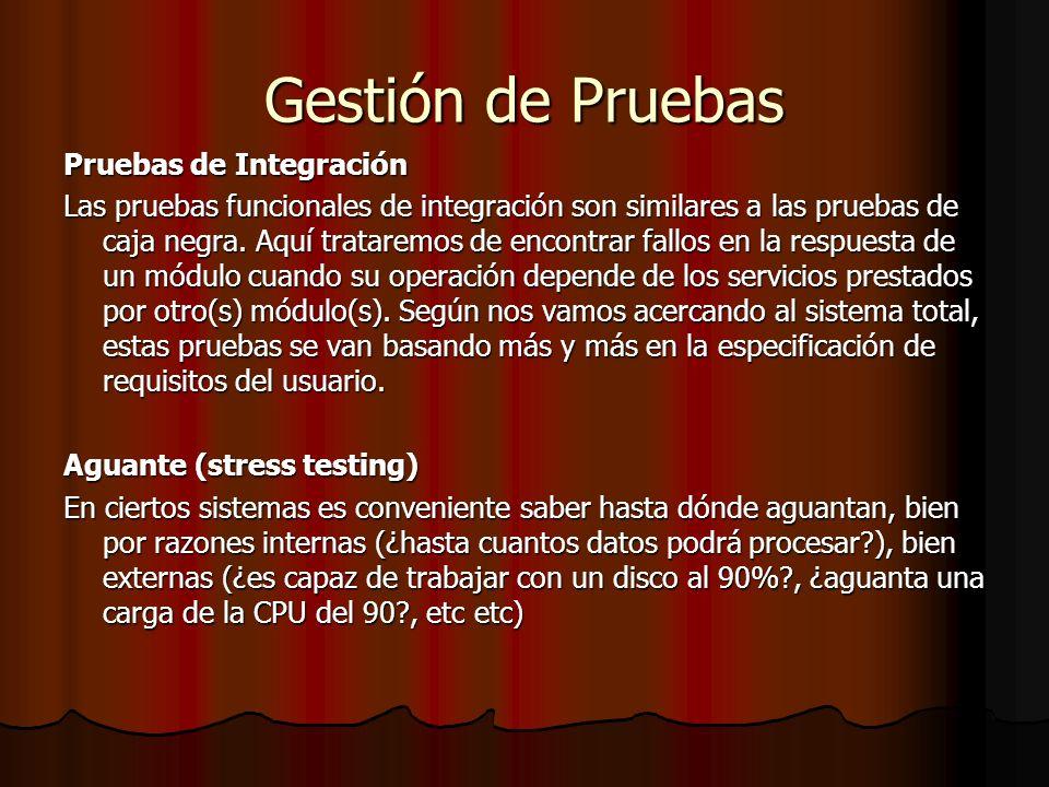 Gestión de Pruebas Pruebas de Integración
