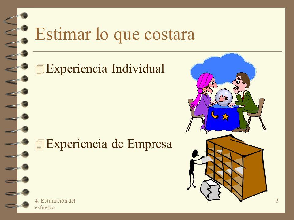 Estimar lo que costara Experiencia Individual Experiencia de Empresa