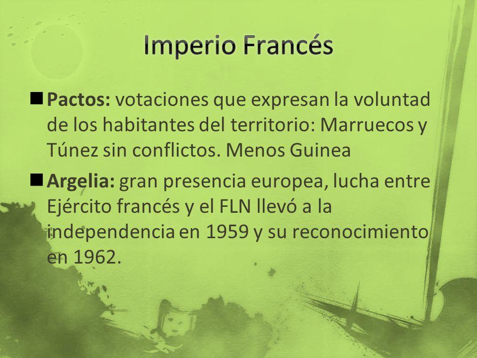 Imperio Francés Pactos: votaciones que expresan la voluntad de los habitantes del territorio: Marruecos y Túnez sin conflictos. Menos Guinea.