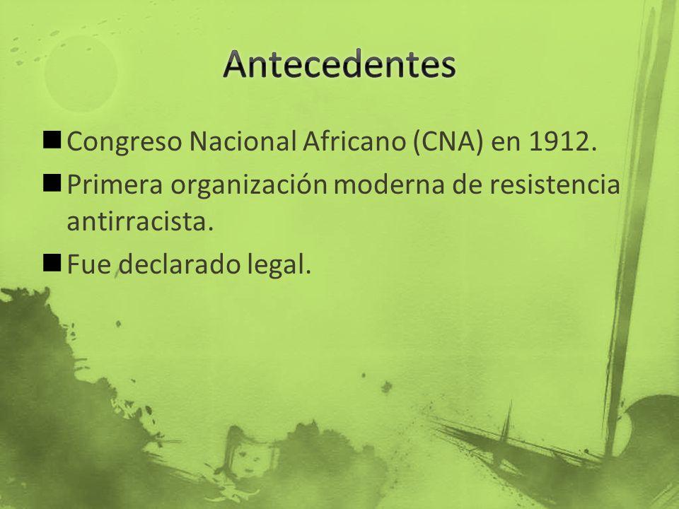 Antecedentes Congreso Nacional Africano (CNA) en 1912.