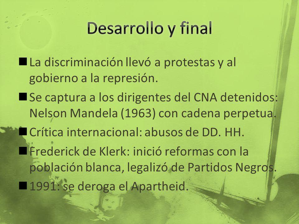 Desarrollo y final La discriminación llevó a protestas y al gobierno a la represión.
