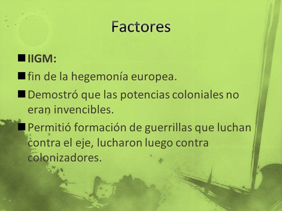 Factores IIGM: fin de la hegemonía europea.