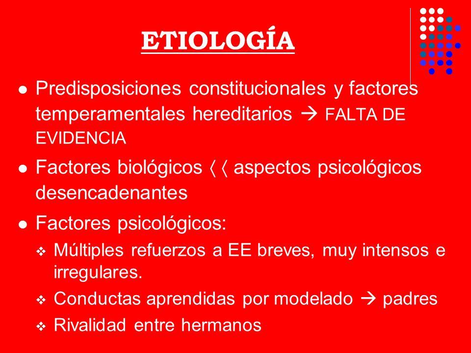 ETIOLOGÍAPredisposiciones constitucionales y factores temperamentales hereditarios  FALTA DE EVIDENCIA.