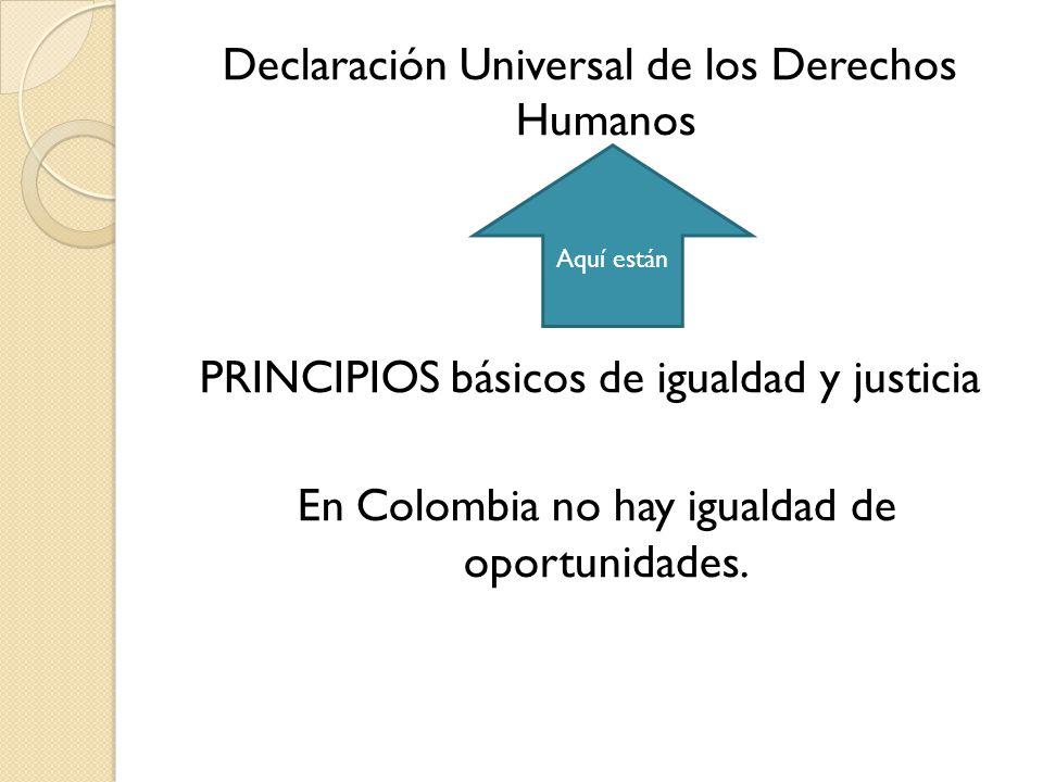 Declaración Universal de los Derechos Humanos PRINCIPIOS básicos de igualdad y justicia En Colombia no hay igualdad de oportunidades.