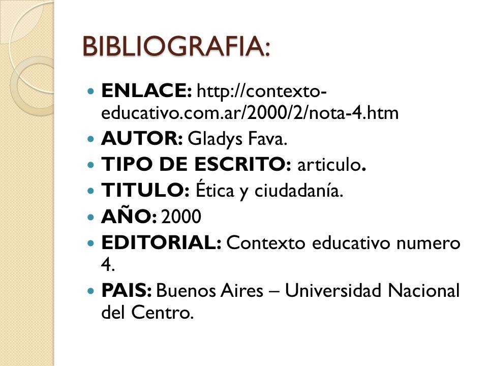 BIBLIOGRAFIA: ENLACE: http://contexto- educativo.com.ar/2000/2/nota-4.htm. AUTOR: Gladys Fava. TIPO DE ESCRITO: articulo.