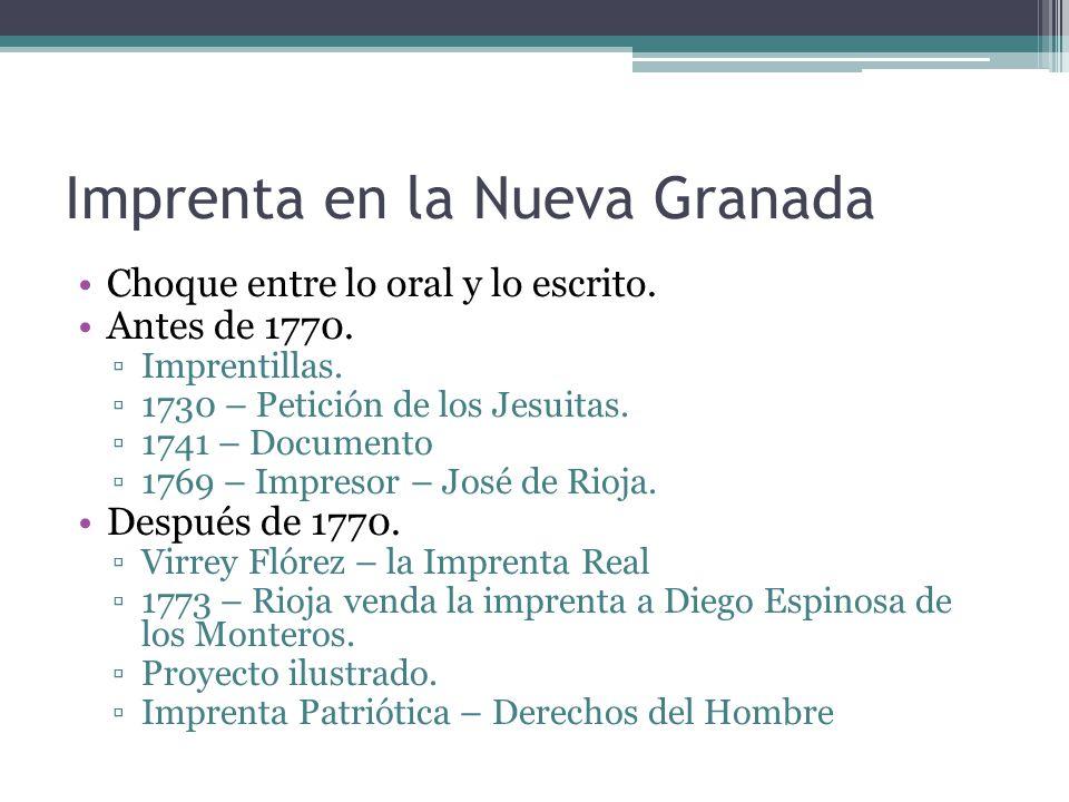 Imprenta en la Nueva Granada