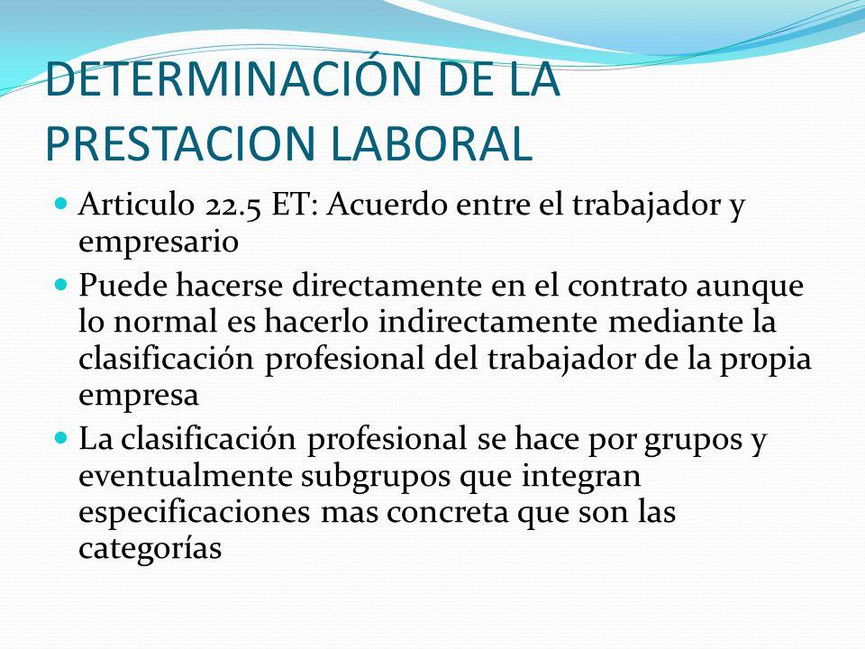 DETERMINACIÓN DE LA PRESTACION LABORAL
