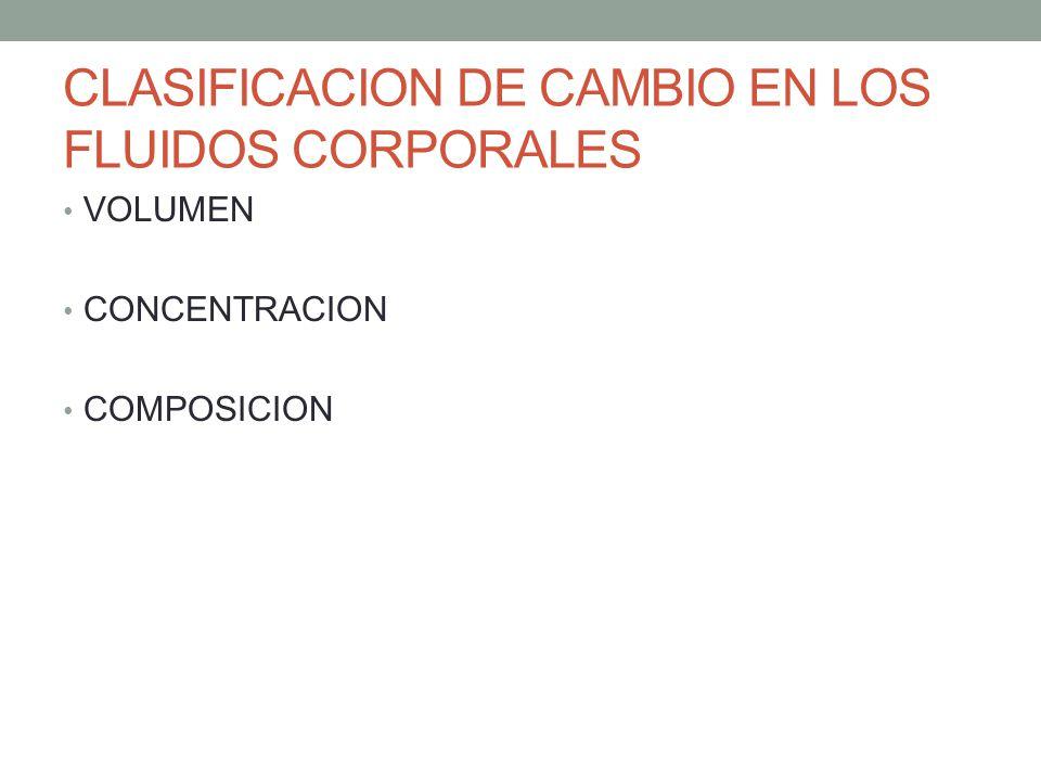 CLASIFICACION DE CAMBIO EN LOS FLUIDOS CORPORALES