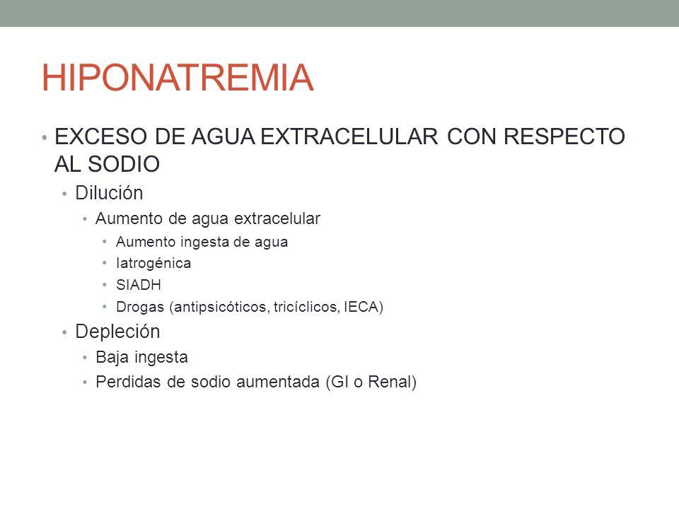 HIPONATREMIA EXCESO DE AGUA EXTRACELULAR CON RESPECTO AL SODIO