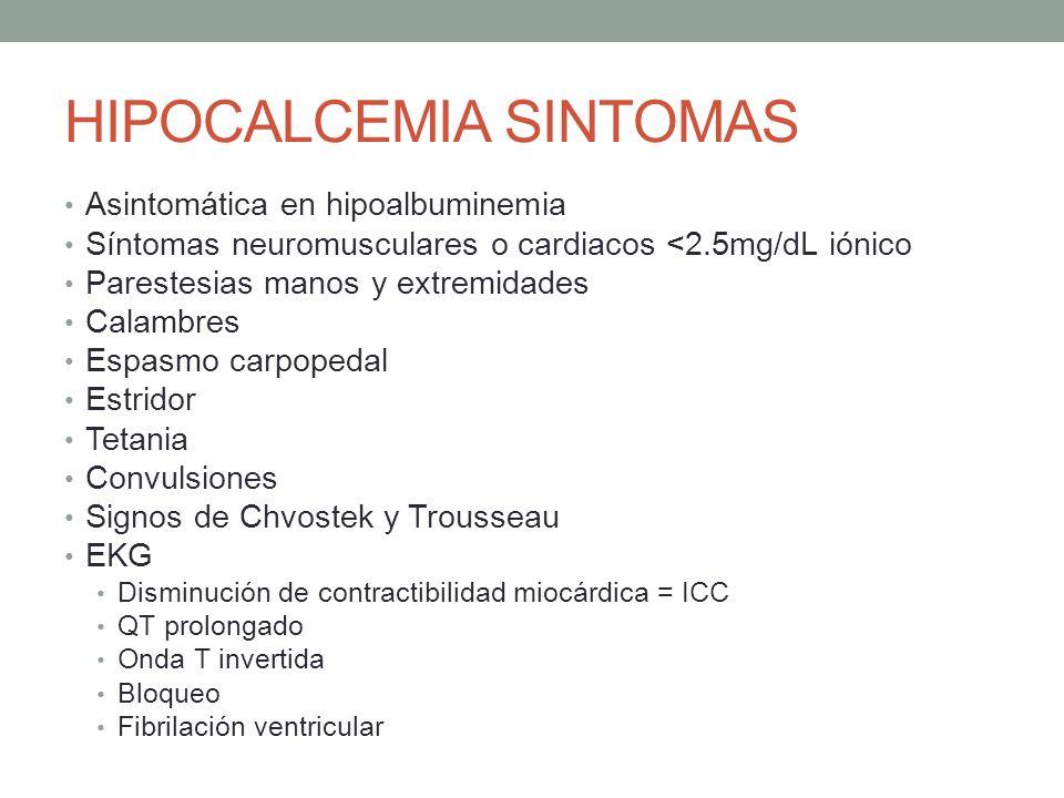 HIPOCALCEMIA SINTOMAS