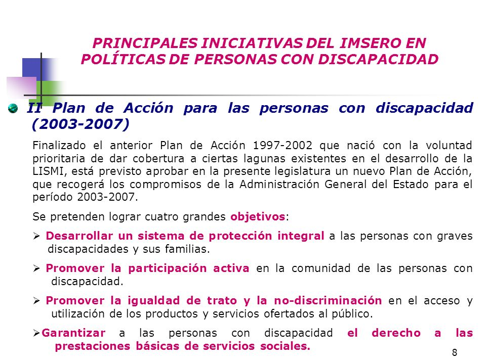II Plan de Acción para las personas con discapacidad (2003-2007)